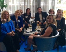 Jane Henderson Kenyon, Amy Worthington, David Schure, Christina Henderson, Norman Callaway, Martha Giancola, Madolyn Greva, Susan Hughes at the Bleau Bar. #GNE 2014 #Fontainebleau #Miami
