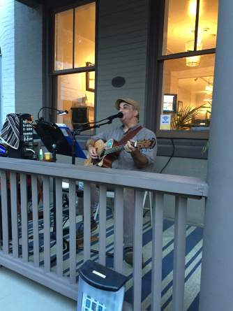 Live music on the porch of the office to celebrate Lambertville's First Friday Art Walk.